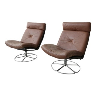 Pair of Mid Century Leather and Chrome Armless Swivel Danish Style Lounge Chairs For Sale