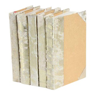 Metallic Hide White & Gold Books - Set of 5 For Sale