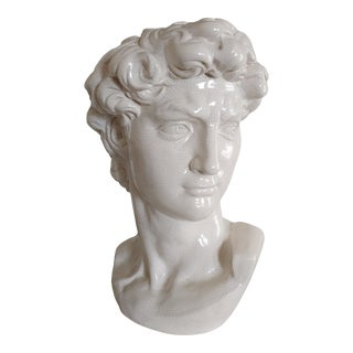 Vintage Alabaster Crackle Glaze Large Ceramic Bust of David After Michelangelo For Sale