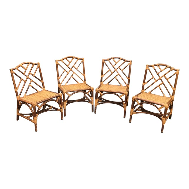 1960s Traditional Bamboo and Rattan Chairs - Set of 4 For Sale