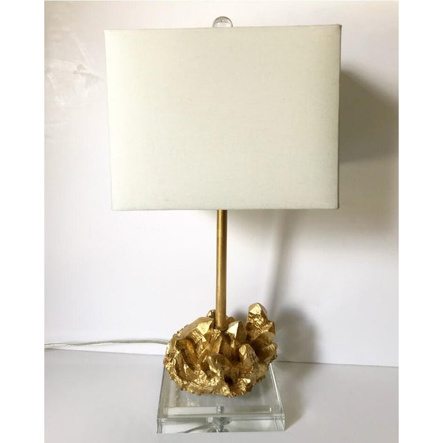 Glass and Gold Nugget Lamp For Sale - Image 4 of 4