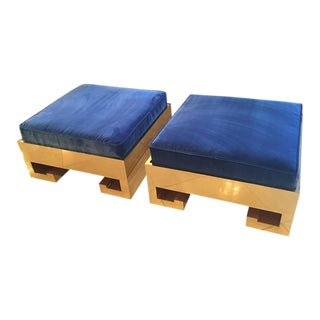 Greek Key Gold Brass Blue Velvet Cushions Ottomans Stools Benches - a Pair