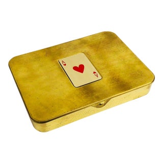 Vintage Brass Playing Card Case For Sale