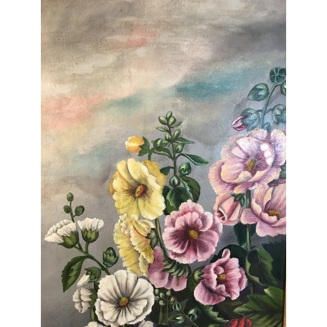 Antique Floral Oil Painting For Sale - Image 4 of 11