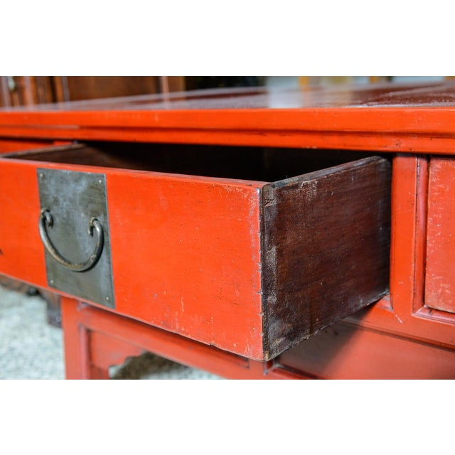 Metal Asian Red Wooden Coffee Table For Sale - Image 7 of 10