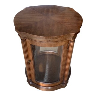 Vintage Lighted Pecan Wood and Glass Side Table For Sale