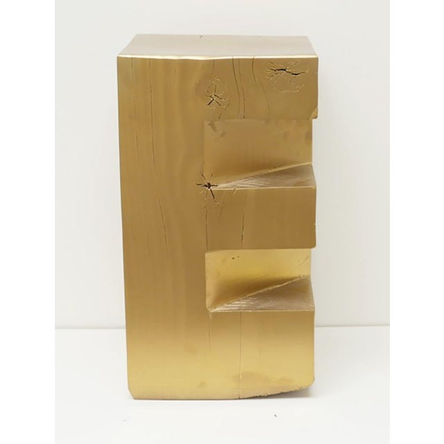 """Metal Custom Wooden Totem """"E"""" Stool For Sale - Image 7 of 7"""