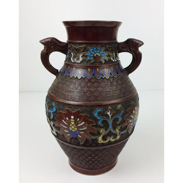 Vintage Japanese Champleve Cloisonne Bronze Vase - Image 6 of 8