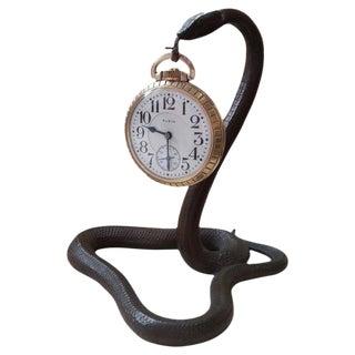 Egyptian Revival Snake Form Pocket Watch Holder For Sale