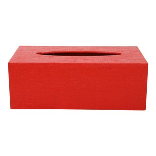 20th Century Red Linen Covered Tissue Box Cover For Sale