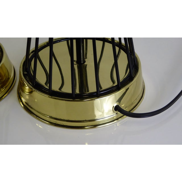 1940s Vintage Modern Brass and Wire Saturn Table Lamps- A Pair For Sale - Image 9 of 13