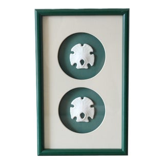 1980s Green Lacquer Framed Mexican Arrowhead Sand Dollars For Sale