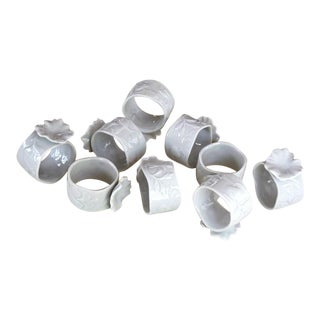 White Porcelain Flower Napkin Rings - Set of 9 For Sale