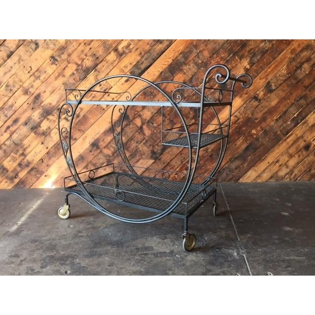 1940's Salterini Wrought Iron Rolling Outdoor Bar Serving Cart - Image 4 of 7