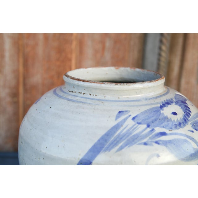 Ceramic Blue and White Asian Glazed Pot For Sale - Image 7 of 8