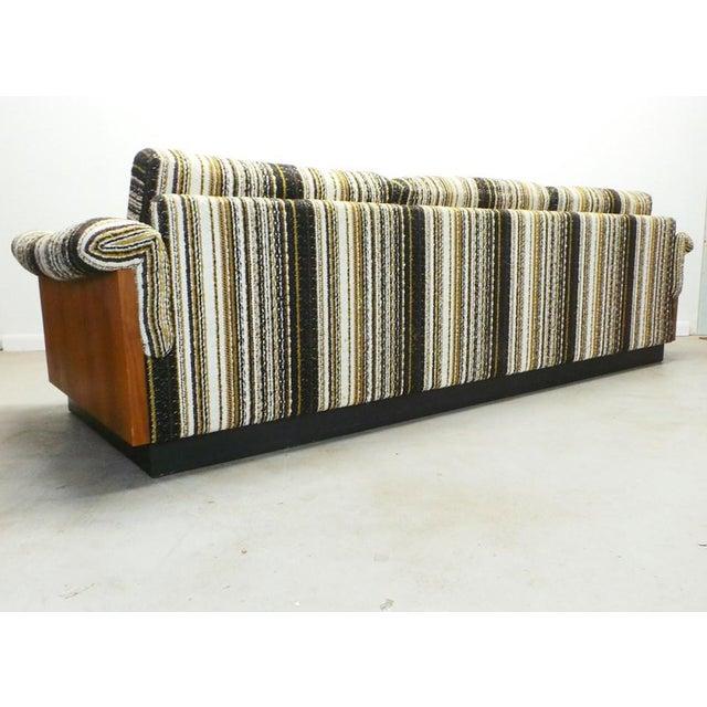Textile Mid Century Boho Modern Walnut Milo Baughman Style Sofa For Sale - Image 7 of 8