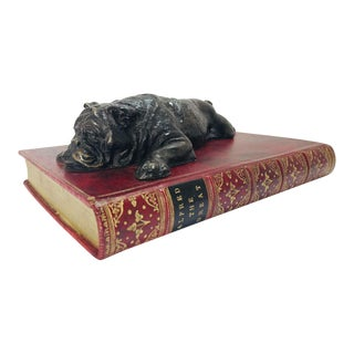"""1960s Bronze Bulldog on Faux """"Alfred the Great"""" Book For Sale"""