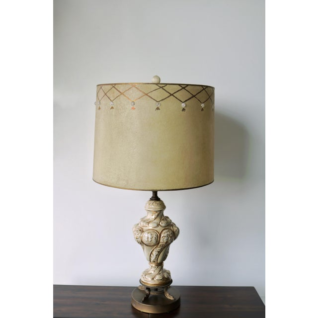 Vintage Mid-Century Lamp & Fiberglass Lamp Shade For Sale - Image 9 of 11