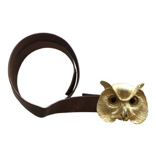 1988 Vintage Christopher Ross Owl Buckle Belt For Sale