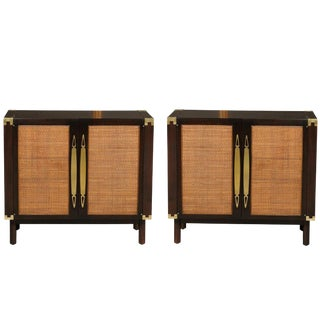 Sophisticated Pair of Walnut Cabinets With Raffia and Brass Accents For Sale