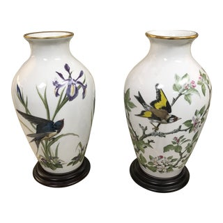 Franklin Porcelain Collectible the Meadowland & Woodland Bird Vases - a Pair For Sale