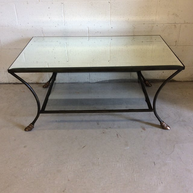 Rectangular Mirror Top Iron Coffee Table with Brass Hoof Feet For Sale - Image 9 of 9