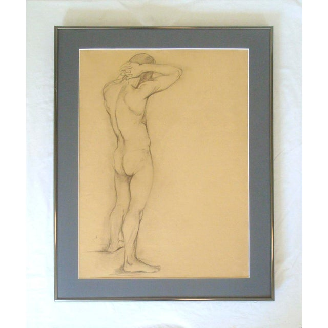 1910-20 Nude Male Charcoal Sketch Studio Drawing For Sale In Richmond - Image 6 of 6