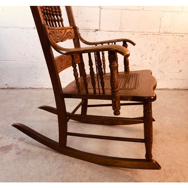 Quarter-Sawn Oak Hand Carved Rocking Chair For Sale - Image 10 of 13