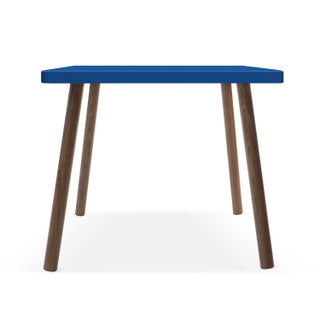 """Tippy Toe Small Square 23.5"""" Kids Table in Walnut With Pacific Blue Finish Accent Preview"""