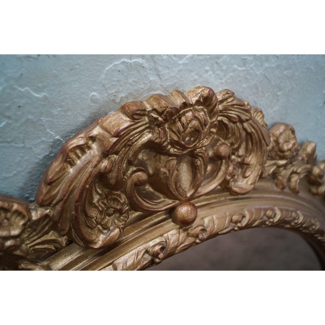 Carved Gilt Wood French Louis XV Style Mirror - Image 6 of 10