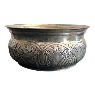 Vintage Metal Decorative Bowl For Sale