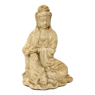 Asian Style Modern Cream Crackle Quan Yin Statue For Sale