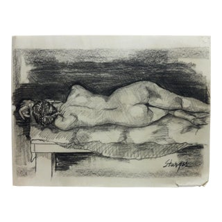 """1953 Vintage """"Fully Nude Rear"""" Tom Sturges Jr. Drawing For Sale"""