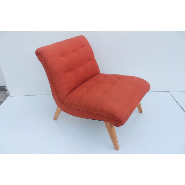 Jens Risom for Knoll Red Slipper Chair For Sale - Image 5 of 11