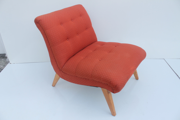 Jens Risom For Knoll Red Slipper Chair   Image 5 Of 11
