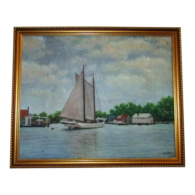 Vintage Original Signed Sailboat in a Cove Oil on Canvas - Image 1 of 5