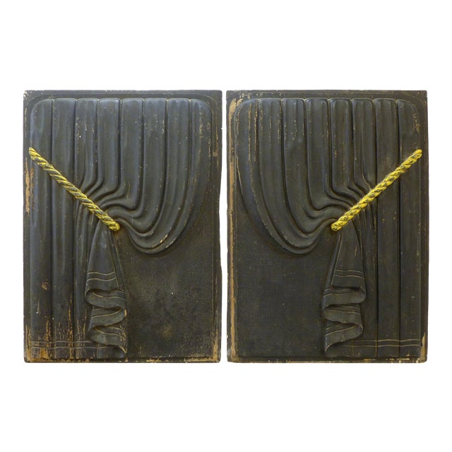 Pair of Early 20th Century Carved Wood Funeral Coach Curtain Panels For Sale