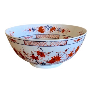 Asian Chinoserie Large Porcelain Bowl For Sale