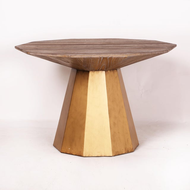 Contemporary Contemoprary Lucia Gold Elm Wood Dining Table For Sale - Image 3 of 6