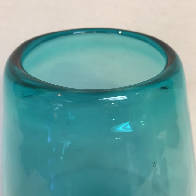 Beautiful Large Teal Glass Vase For Sale - Image 4 of 8