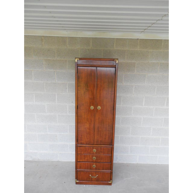 Campaign Drexel Heritage Accolade Campaign Style Armoire For Sale - Image 3 of 11