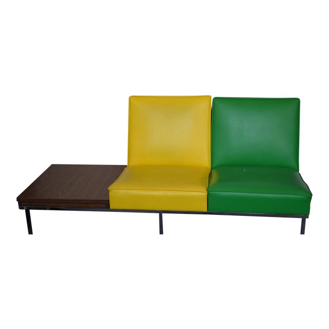 Modern Two-Tone Loveseat & Attached End Table - Image 1 of 7