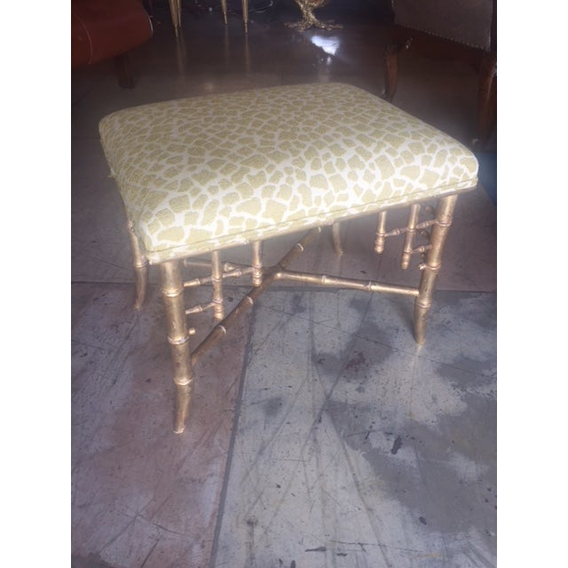 Campaign English Gilt-Wood Bamboo Style Stool For Sale - Image 3 of 7