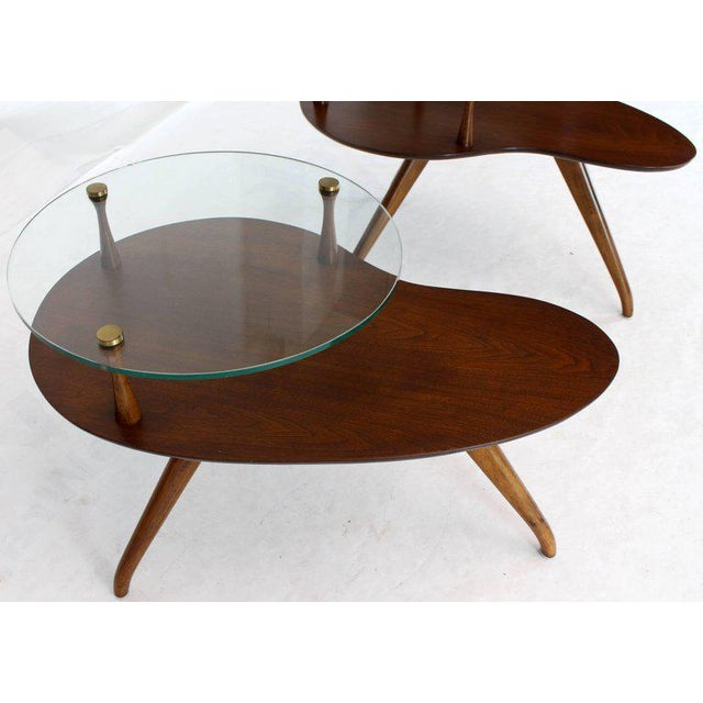 Pair of Kidney Organic Shape Two-Tier Tri-Legged Side Tables For Sale In New York - Image 6 of 10