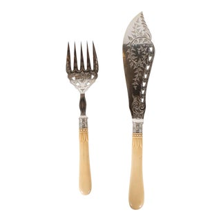 Silver Plate Victorian Fish Set With Bone Handles and Chased Foliate Patterns For Sale