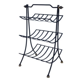 Vintage Hollywood Regency Curved Shelves Magazine Stand / Towel Holder.