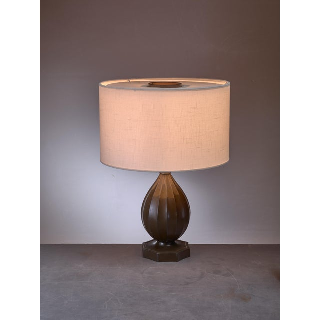 Mid-Century Modern Just Andersen rounded metal table lamp, Denmark, 1930s For Sale - Image 3 of 3