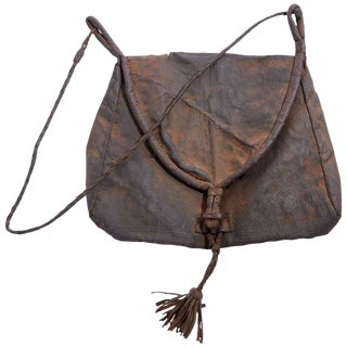 Early 20th Century Afghani Leather Bag For Sale