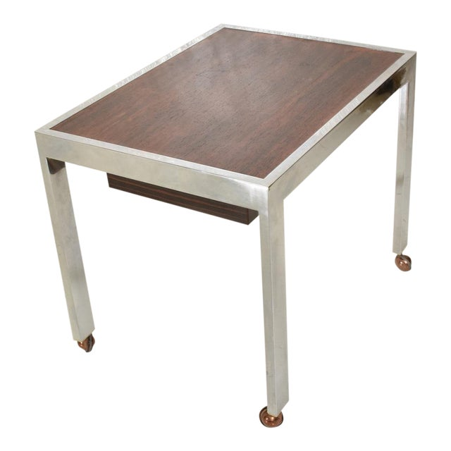 Scandinavian Danish Modern Side Table in Rosewood and Chrome For Sale