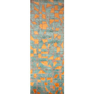 20th Century Abstract Hand Knotted Abstract Runner/Gallery Rug For Sale